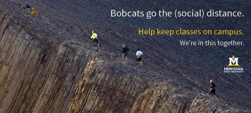 Photo of people running on a rocky ridge, with caption: Bobcats go the (social) distance. Help keep classes on campus. We're in this together.