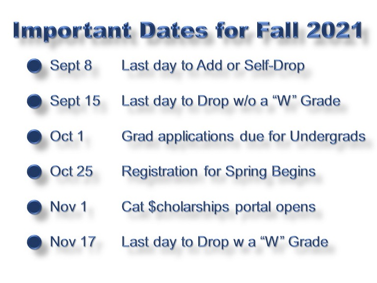 Important Registrar's Office and Cat $cholarships dates. Note these dates on your calendar!