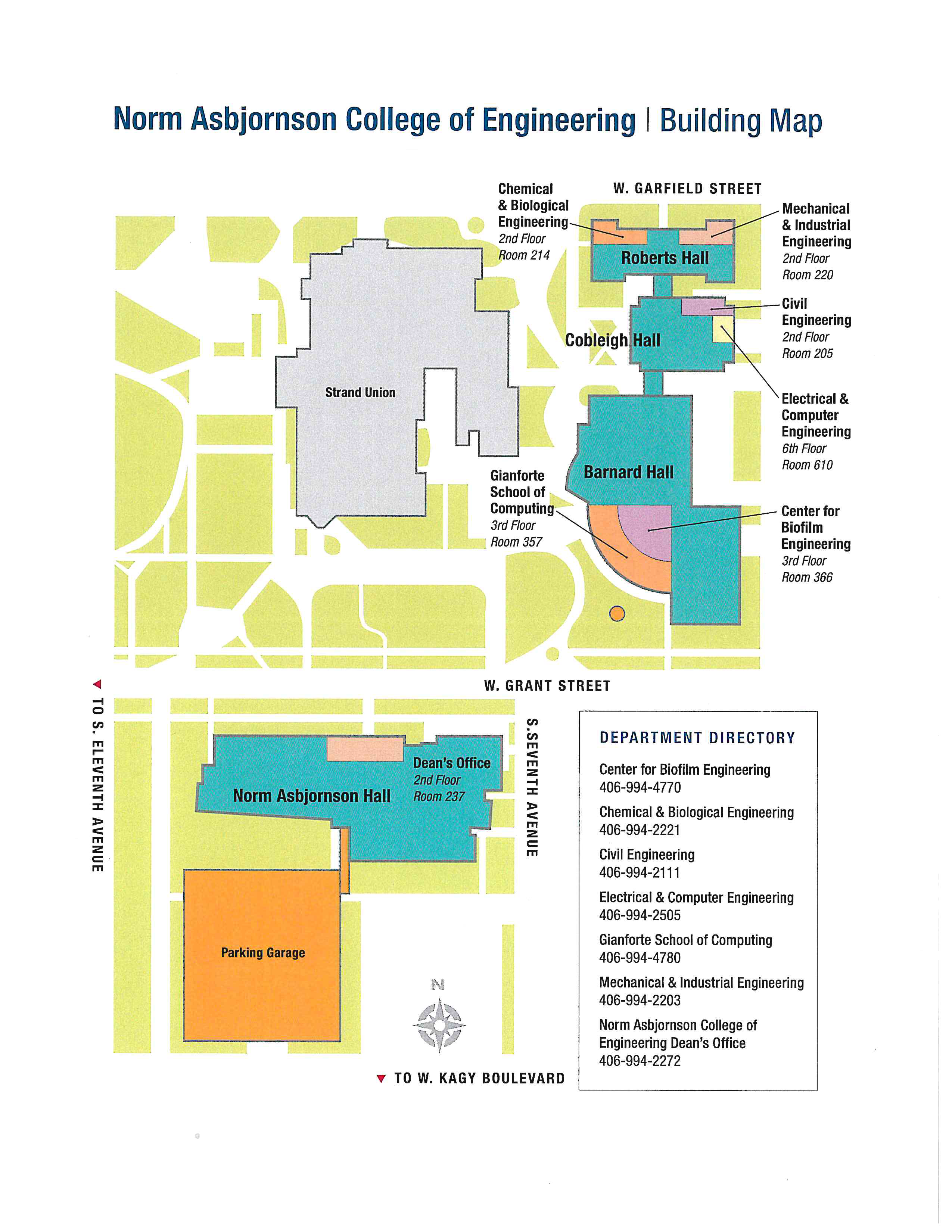 Map of Norm Asbjornson College of Engineering Buildings