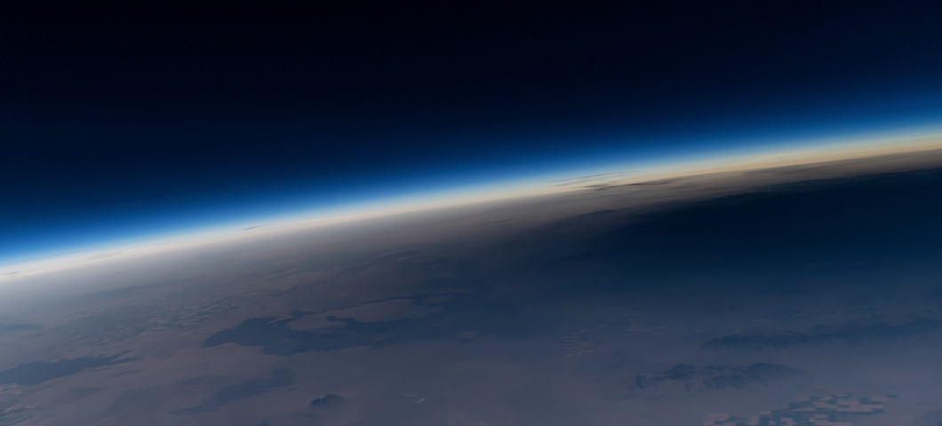 image from MSU high-altitude balloon showing shadow of Aug. 21 total solar eclipse