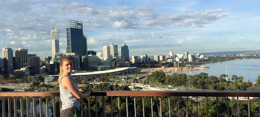 MSU student in Australia overlooking city and beach