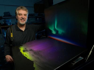 Professor Joe Shaw with his imaging of aurora lights