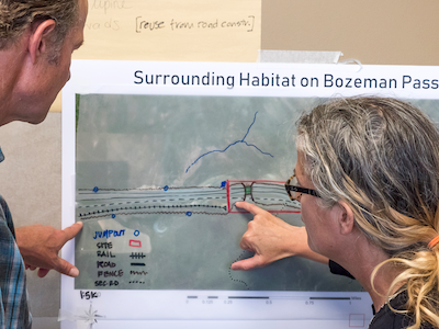 Two WTI researchers looking at a design plan for a wildlife crossing structure