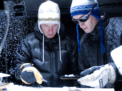 two MSU researchers in snow lab